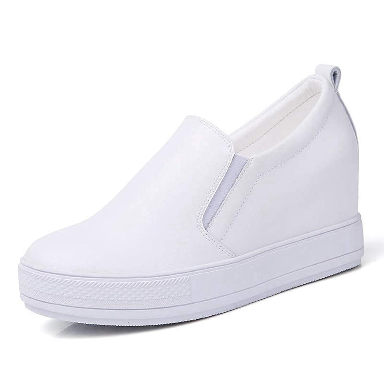 土器魅惑的な敬な[WOOYOO] スニーカー 厚底 レディース スリッポン レザー カジュアルシューズ 靴 インヒール 6.5cmアップ 防滑 大きいサイズ 無地 春秋 軽量 歩きやすい ブラック/ホワイト 疲れない