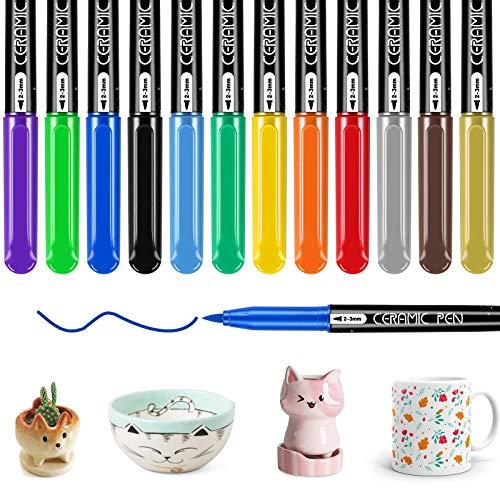 RATEL Set di penne in ceramica, 12 colori (10 colori classici+oro+argento) Vernice di Porcellana impermeabile permanente, Pennarello per Porcellana lavabile in lavastoviglie per tazze, piatti