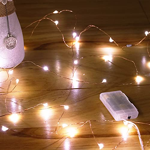 Ariceleo Mini Fairy Lights Battery Operate, 1 Pack Copper Wire Night Lights 3*AAA Battery Powered Led Starry Fairy String Lights for Bedroom, Christmas, Party, Wedding, Decoration(5m/16ft Cool White)