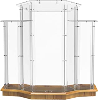 FixtureDisplays Podium, Wood Base w/Clear Ghost Acrylic, Lectern, Pulpit, 3 Tier Construction - Assembly Required 11909!