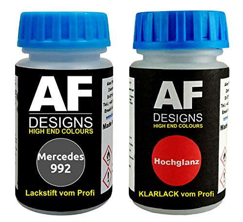 Lackstift für Mercedes/Daimler Benz 992 Selenitgrau Metallic + Klarlack je 50ml Autolack Basislack Set