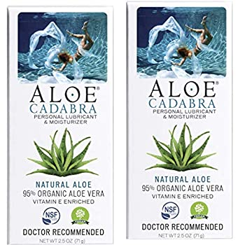 Aloe Cadabra Natural Personal Lube Organic Best Lubricant Oral Gel for Her Him & Couples Unscented 2.5 oz  Pack of 2