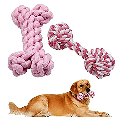 BIULEF [2-Pack] Dog Toy, Dog Toys for Boredom, Dog Chew Toy, Puppy Teething Toys, Natural Cotton Rope for Medium and Small Dogs