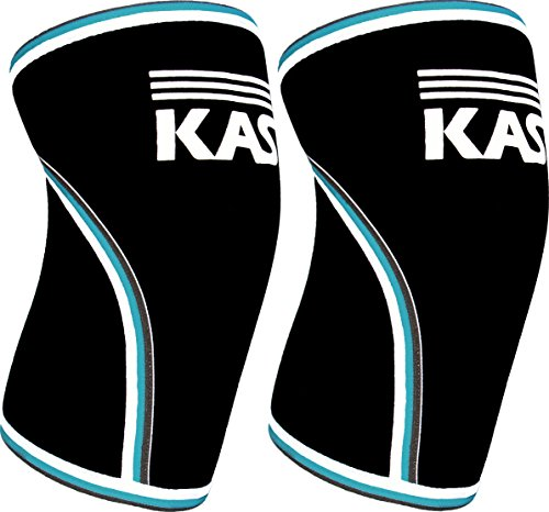 KASP Knee Sleeves 7mm Neoprene Support Brace Designed for Weightlifting, Cross Training & Powerlifting - Injury Prevention & Recovery - Exercise & Workout Aid Men & Women Blue Trim Medium