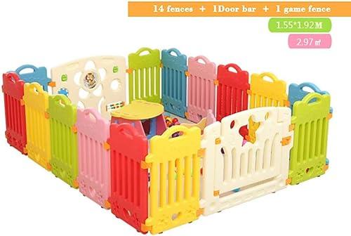 muchas concesiones Parque de bebe, Parque de bebé bebé bebé , Castle Infant & Baby Playpen - 8-16 paneles de Colors - con panel de actividades, Diseño de barra de seguridad, adecuado para Niños de 0 a 3 años ( Color   D )  protección post-venta