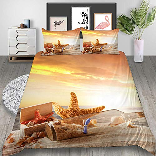 MOUPSDT 3D Printed Duvet Cover Sunset yellow wish bottle starfish Super King size Bedding Set Super Soft Microfiber 3 pcs 1 Duvet Cover 86.7 inch x 103 inch with 2 Pillow covers 50x75cm