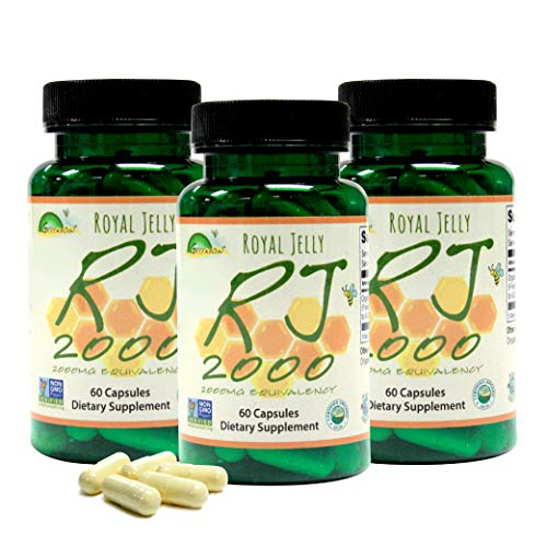 GREENBOW Royal Jelly 2000mg Equivalency – Non GMO Made with Organic Royal Jelly - One of The Most Nutrition Packed Diet Supplements – (Three Jars of 60 Vegan Capsules)