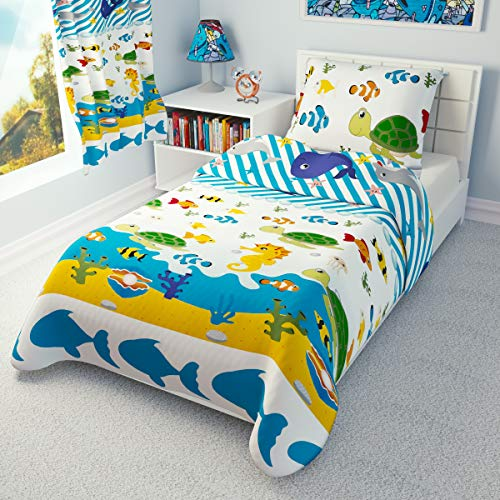 Duvet Cover + Pillowcase 120 cm x 150 cm Toddler Bedding SEA Animals 100% Cotton (120x150 cm)