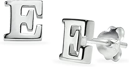Sterling Silver Alphabet Initial Letter Tiny Earring Studs Letters A - Z