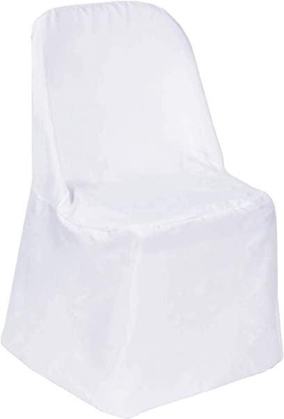 Efavormart 10pcs Polyester Linen White Folding Chair Cover Dinning Chair Slipcover For Wedding Party Event Banquet Catering