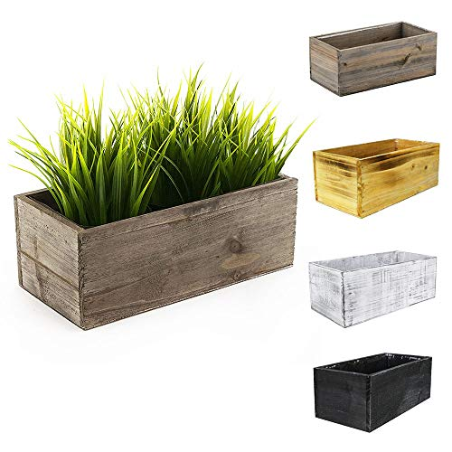 """CYS EXCEL Rustic Wood Planter Box with Removable Plastic Liner (4 Colors Available) 