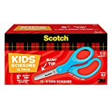Scotch 5-Inch Soft Touch Blunt Kid Scissors, 12 Count Teacher Pack, Blue (1442B-12)