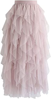 940a17624 Chicwish Women's Cream/Pink/Dusty Blue/Black Tiered Layered Mesh Ballet  Prom Party