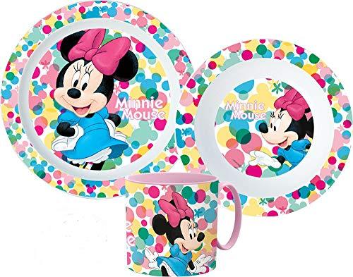 Minnie Maus Kinder-Geschirr Set mit Teller, Müslischale und Trinkbecher inkl. Besteck