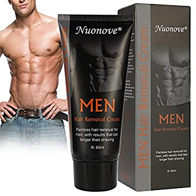 Hair Removal Cream, Depilatory Cream, Hair Removal for Men, Gentle and Advanced Painless Body Hair Removal Cream, Suitable for Arms/Chest/Back/Legs/Armpits 60ml