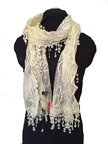 Pamper Yourself Now Creme Blumen Spitzen langen Schal, schöne weiche Schal fantastisches Geschenkk-Cream flower lace long scarf. Lovely soft scarf. Fantastic gift