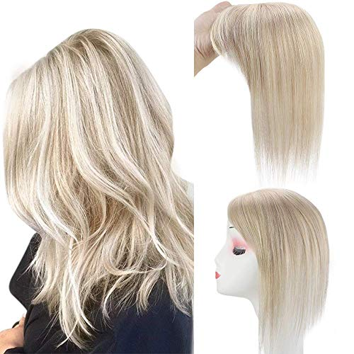 Full Shine Remy Brazilian Hair Topper With Clips 8 Inch Wiglet Piano Color 18 Ash Blonde With 613 White Blonde Secret Crown 6.5X2.25 inch