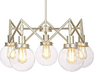 Rivet Mid-Century Modern Glass Sphere Chandelier with 5 Light Bulbs - 26 x 26 x 9.5 Inches, 20 - 55 Inch Cord, Soft Brass