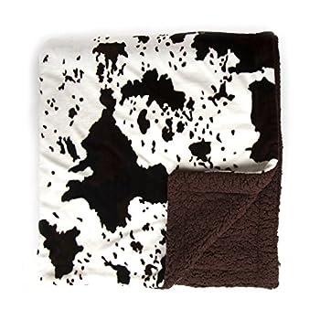 Tadpoles Sleeping Partners Plush Sherpa Cowhide Print Throw Blanket