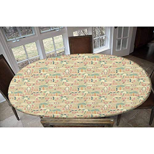LCGGDB Elastic Polyester Fitted Table Cover,Summer Vacation on an Exotic Island Pattern with Retro Style Woman Fashion Elements Oblong/Oval Elastic Fitted Tablecloth,Fits Tables up to 48' W x 68' L