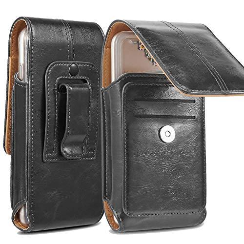 suily Handy Gürtel Holster Taille Tasche, Universal Vertical Leder Flip Cover Handy Gürtelclip Fall Magnetverschluss Tasche Mit Zusätzlichem Kartenschlitz for 5.5