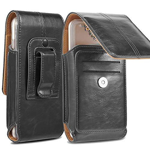 suily Handy Gürtel Taille Tasche, Universal Vertical Leder Flip Cover Telefon Gürtelclip Fall Magnetverschluss Tasche Mit Zusätzlichem Kartenschlitz for 5.5