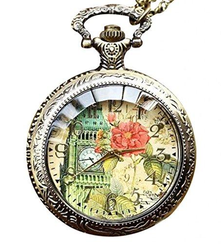 Infinite U Retro El Big Ben de Londres con Rosa Grande Reloj de Bolsillo Cuarzo Números Arábigos Bronce
