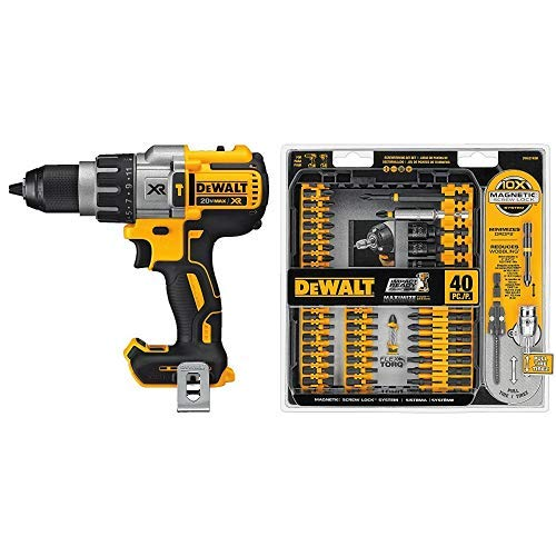 DEWALT DCD996B Bare Tool 20V MAX XR Lithium Ion Brushless 3-Speed Hammer Drill (Tool Only) with DEWALT DWA2T40IR IMPACT READY FlexTorq Screw Driving Set, 40-Piece