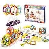 Bloques magnéticos de colores, 52 unidades de bloques de plástico multicolor, juego de construcción para niños, una gran idea de regalo, pensamiento creativo y destreza.