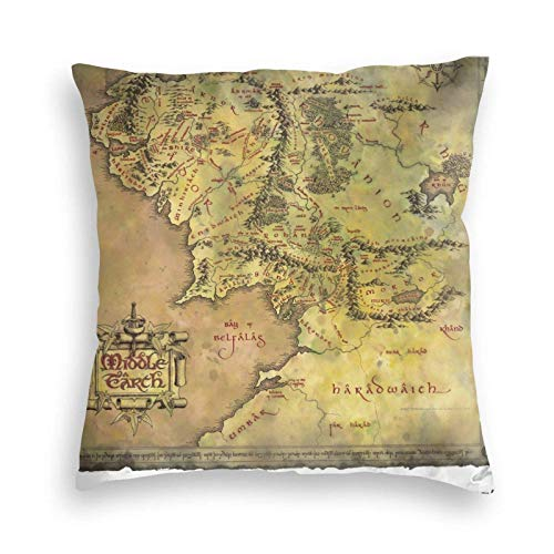 Taie d'oreiller housse de coussin Seigneur des anneaux carte de la terre du milieu jet décoratif pour canapé canapé chambre salon décoration Throw Pillow Case 45X45CM