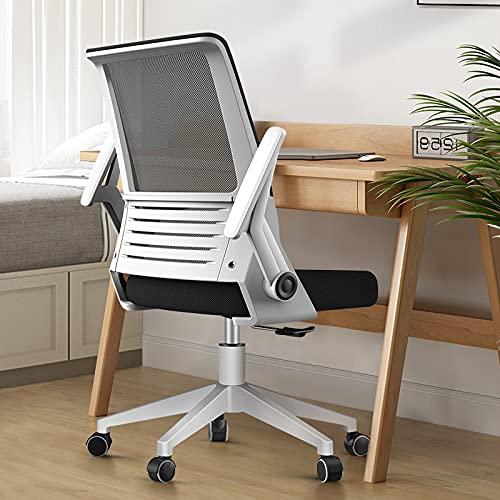HDZW Silla de Oficina ergonómica, reposabrazos con rotación de 360 °, reposacabezas y Altura Ajustables, sillón de Malla, Inclinado a 65 °, Transpirable, cómodo y confiable, Capacidad 150 KG,Blanco