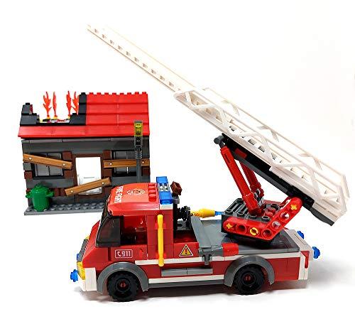 Modbrix Bausteine Feuerwehrauto Feuerwehr Leiterwagen mit brennendem Haus, 355 Klemmbausteine