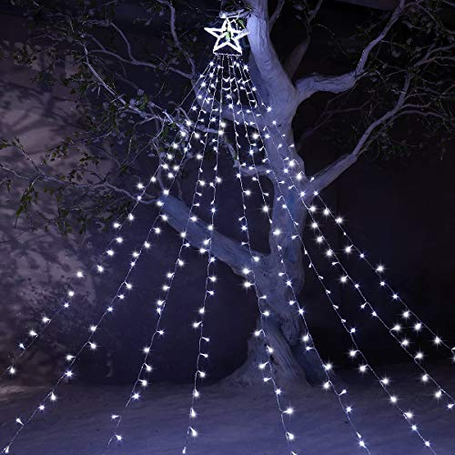 YUNLIGHTS Christmas Lights 344 LED 9 X 12 Ft Fairy Lights with 12' Lighted Topper Star for Outdoor Christmas Decorations 8 Lighting Modes Decoration Lights for Christmas Wedding Party