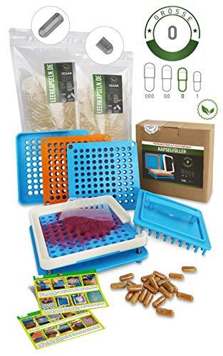 Kapselfüller + 1000 Leerkapseln Gr. 0 | vegane getrennte Kapselhälften - kein vorheriges Öffnen nötig | Kapselfüllgerät [100 Löcher] zum selber befüllen | Filler (Kapselfüller inkl. 1000)