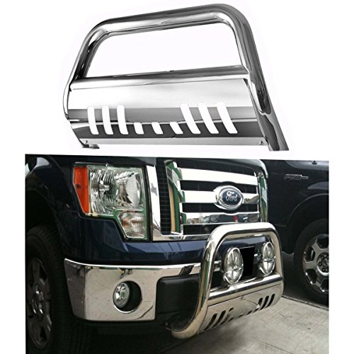 "RUIANG VOYAGE Compatible with 04-16 Ford F150 / 07-16 Expedition / Lincoln Navigator 3"" Round S/S Chrome Bull Bar Front Bumper Grill Guard"