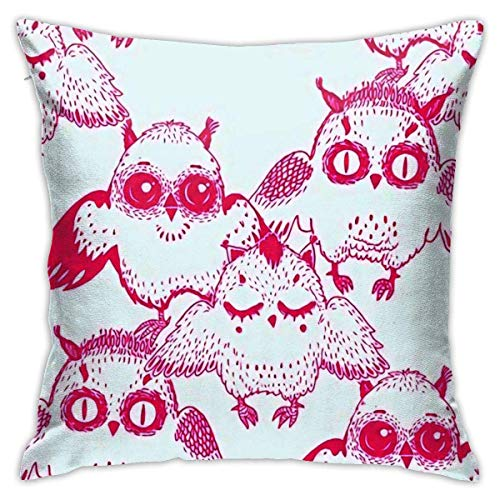 Square Throw Pillow Case Doodle Style Owl Bird Family Cushion Cover 45X45CM