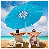 5. Beach Umbrella with Sand Anchor, Outdoor Portable Beach Umbrella for Sand with Adjustable Tilt Aluminum Pole,6.5ft Travel Wind Resisitance Umbrella with Carry Bag for Beach Patio Outside Picnic