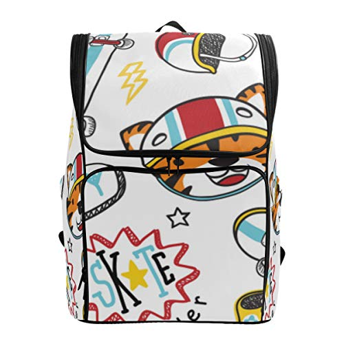 LISNIANY Rucksack,Tiger Skateboarder Skateboard Element Nahtloses Muster,Computertasche,Schultasche,große Kapazität