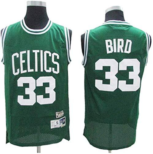 BXWA-Sports Baloncesto Jersey NBA # 33 Larry Bird Boston Celtics Transpirable Resistente al Desgaste Uniforme de Baloncesto Jerseys Fitness Sport Camiseta de Competencia,Verde,S