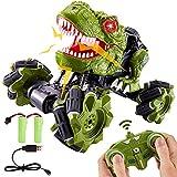 TOEY PLAY Coche Dinosaurio Teledirigido Juguete, con 2 Batería Recargable, 2.4GHz 4WD RC Coches Acrobacia, Rugido y Luz, 360° Rotación, Juguetes Radiocontrol Regalo para Niños Niñas