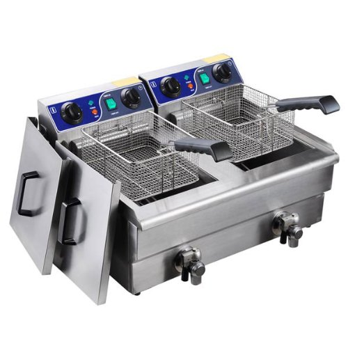 Heavy Duty 20L Dual Tank Stainless Steel Electric Deep Fryer w/Drain Timer Baskets for French Fry Chicken Wing Drumstick Commercial Kitchen Restaurant Catering
