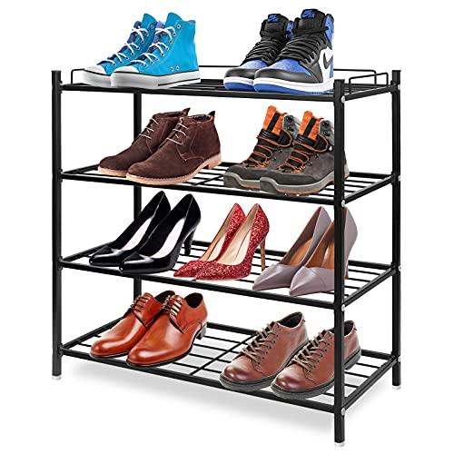 Hossejoy 4 Tier Shoe Rack, Metal Shoe Storage Organiser, Black Shoe Racks Storage Shelf Organizer, Ideal for Entryway, Living Room, Hallway (60 x 25 x 60cm)