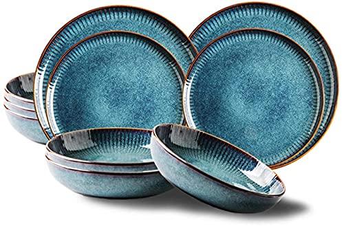 Juego de Platos, Conjuntos de vajillas de 14 Piezas, Conjunto de Cena de cerámica, Conjunto de vajillas de Platos de la Serie Starry Sky, combinación de Porcelana Completa, Creatividad Platos de Cena