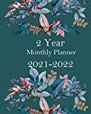 2 year monthly planner 2021-2022: Dark Blue And Flower 24 Months Agenda Log book Schedule List Academic Weekly And Monthly Appointment With Inspirational Quotes