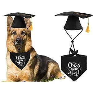 JPB Dog Graduation Cap with Yellow Tassel and Class of 2021 Pet Graduation Bandana