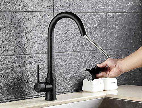 Groove de la pista Nueva cocina y baño Doble uso Tirón Agua caliente y fría Grifo Clásico Negro Material de cobre de alta calidad y burbujeador Ducha y modo de inyección de agua Agua más delicada