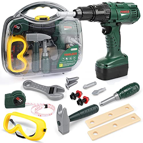 STEAM Life Kids Tool Set with Power Toy Drill - Toy Tool Set Contains Tool Box and Toy Hammer, Goggles, Power Drill and Play Tools Accessaries.