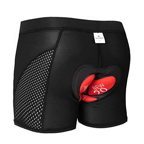 GIEADUN Ciclismo Pantalones Cortos de Bicicleta 20D Gel de sílice Acolchado Ciclismo Calzoncillos Ropa Interior de Bicicleta MTB Bicicleta Pantalones Cortos (Negro, XL)