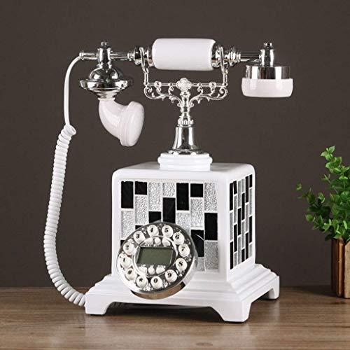 Sywlwxkq Hermoso teléfono, teléfono Retro Moderno nórdico Simplicidad teléfono hogar Dormitorio teléfonos fijos Sala de Estar teléfono Fijo cáscaras y mosaicos aplicados con Manos Libres e