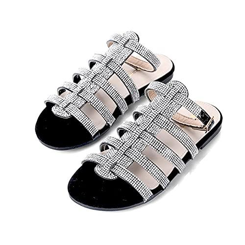 Płaskie sandały damskie Lato 2021 Wygodne czeskie buty Płaskie sandały Letnie odkryte palce Beach Pas pięty,Black,41